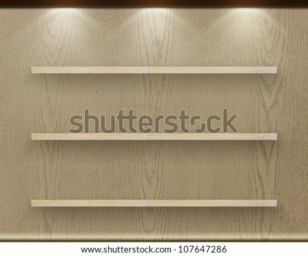 Empty three wood shelf on wood decorative wall, Industrial interior.