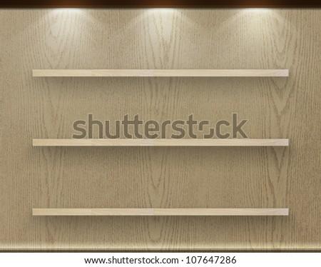 Empty three wood shelf on wood decorative wall, Industrial interior. - stock photo