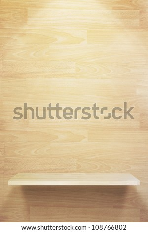 Empty three wood shelf on wood decorative wall, Industrial interior. - stock photo