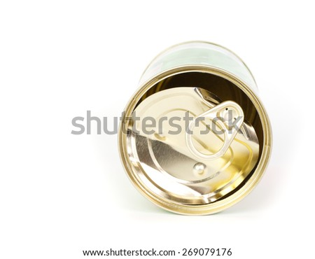 Empty tin can against white background - stock photo