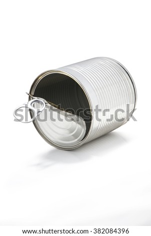 Empty tin can, isolated - stock photo