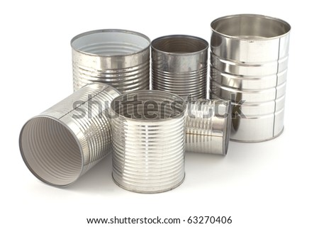 Empty tin cans ready for recycling isolated on white background - stock photo