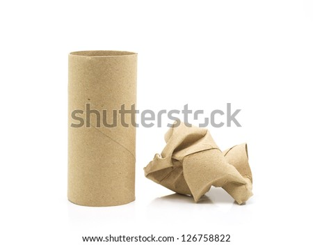 empty tissue paper roll isolated on white background. - stock photo