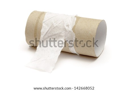 Empty toilet paper roll  on white background - stock photo