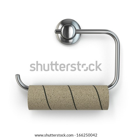 Empty toilet paper roll on white isolated background. 3d - stock photo