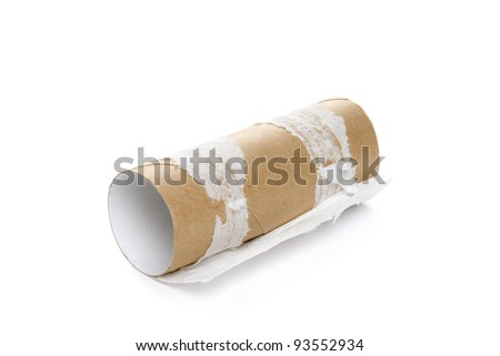 Empty toilet roll on white background - stock photo