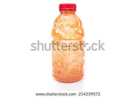 Empty tomato sauces bottle on White Isolated background - stock photo