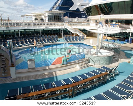 Empty top deck on cruise ship. - stock photo