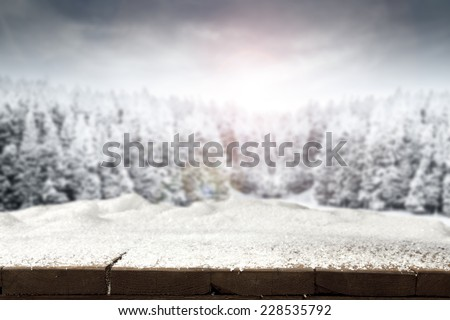empty top of holiday and snow  - stock photo