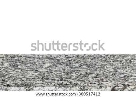 Empty top of natural stone table or counter isolated on white background - stock photo