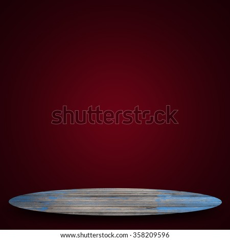 Empty top of old wood shelves on sweet soft red color background. For product display