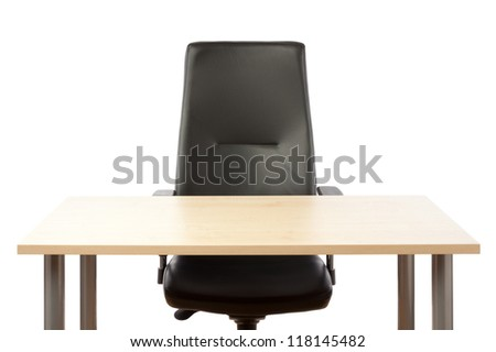 Empty top of the table and leather office chair. - stock photo