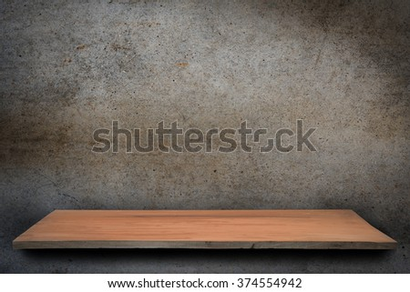 Empty top of wooden table or counter isolated concrete texture background. For product display