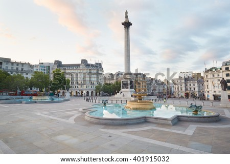 Empty Trafalgar square, early morning and natural light in London, nobody - stock photo