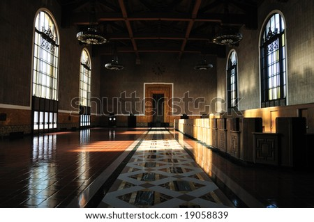 Empty train station lobby in Los Angeles - stock photo