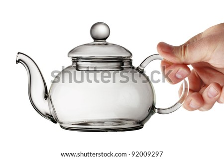 Empty Transparent Glass Teapot - stock photo