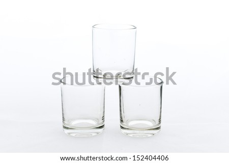 empty, transparent little glass on the white background