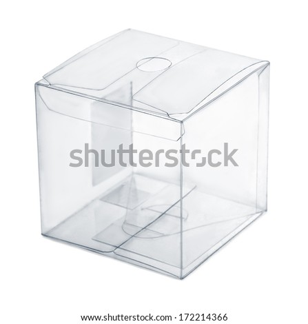 Empty transparent plastic box isolated on white - stock photo