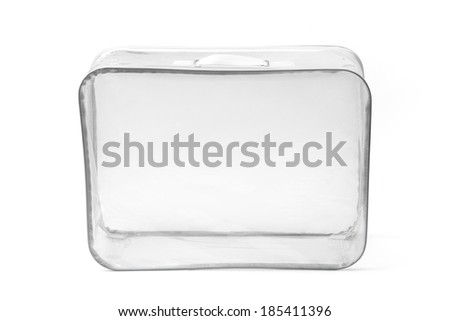 Empty transparent suitcase isolated on white background.