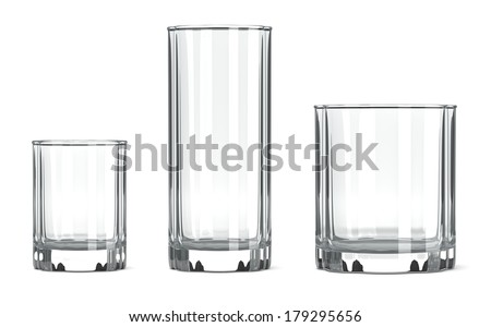 Empty Transparent Table Tumbler Glass Set on White Background