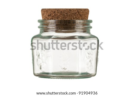 empty transparent white glass jar with cork isolated on white background