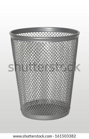 Empty trash bin, garbage can isolated on white background - stock photo