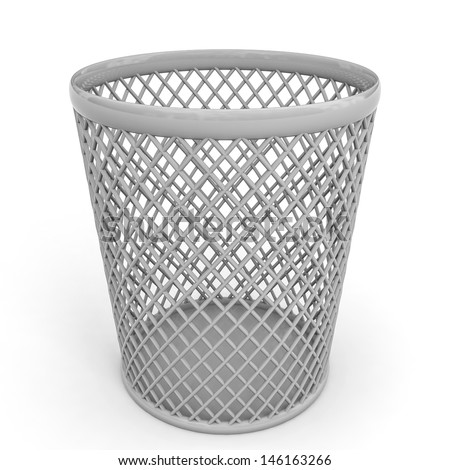 Empty trash can on white background. 3D illustration. - stock photo