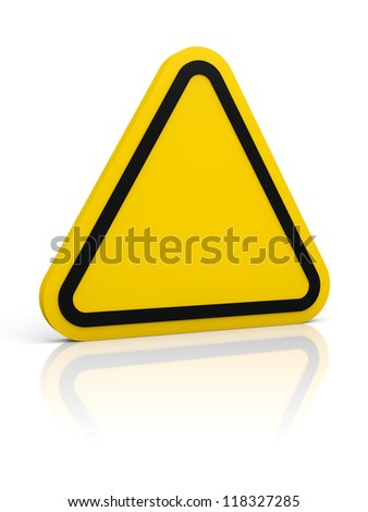 Empty triangle yellow sign. Isolated on white. Glossy floor.