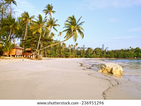 Empty tropical beach with bungalow under coconut palms  and big stone, Bintan Island, Indonesia. - stock photo