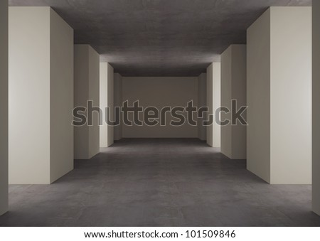 empty underground floor - 3d illustration