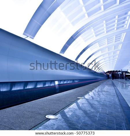 Empty underground platform, square composition - stock photo