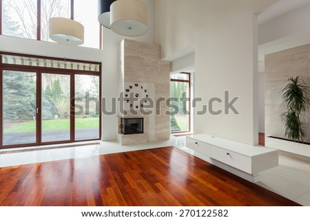 Empty unfurnished space in new exclusive living room - stock photo
