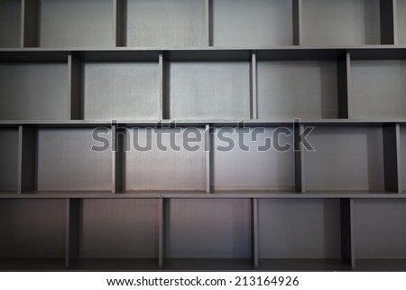 Empty university bookshelf - stock photo