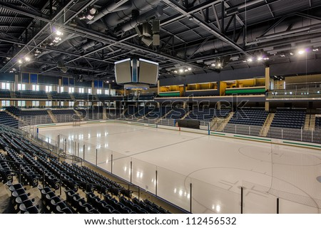 Empty University of Notre Dame hockey arena in South Bend, Indiana