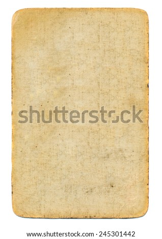 empty used antique playing card paper background isolated on white - stock photo
