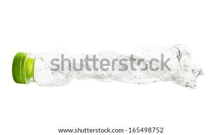 empty used plastic bottles on white background - stock photo