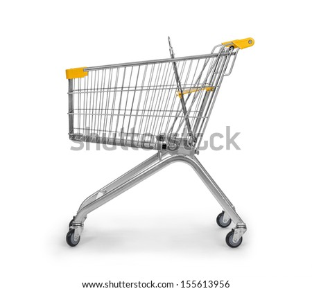 Empty used shopping trolley isolated on white background - stock photo
