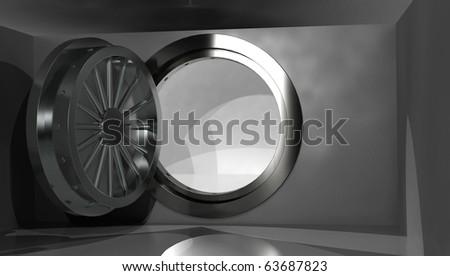 Empty vault with open door, 3D render - stock photo
