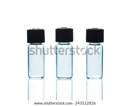 Empty Vials with and reflections, isolated on white background - stock photo