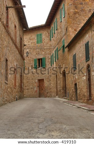 Empty Village street in Italy - stock photo