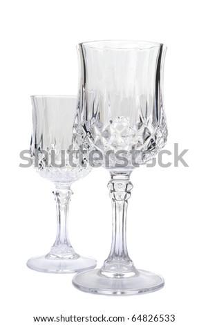 Empty vine glasses isolated on white background - stock photo