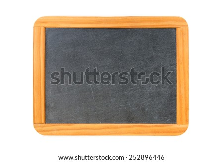 Empty vintage blackboard with wooden frame isolated on white - stock photo