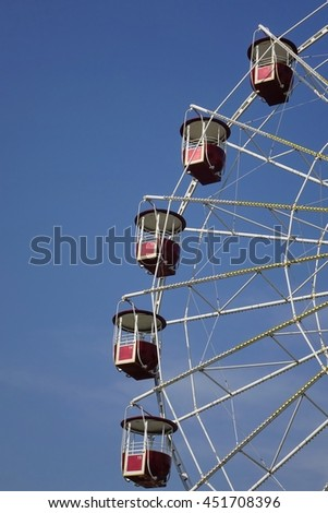 Empty Vintage Ferris Or Big Wheel Fragment And Blue Sky In The Background, Sochi, Adler, Vertical Image - stock photo