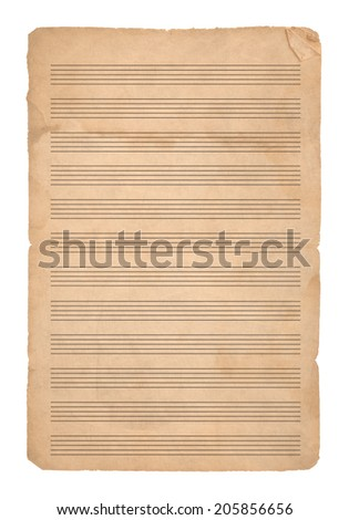 Empty vintage Music paper isolated on white background - stock photo