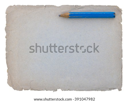 Empty vintage old paper with pencil - stock photo
