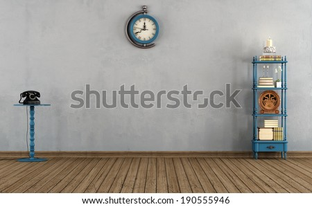 Empty vintage room with little bookshelves,clock and old telephone - rendering  - stock photo