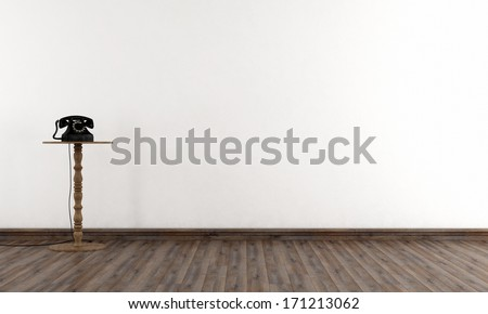 Empty vintage room with white wall and old phone - rendering