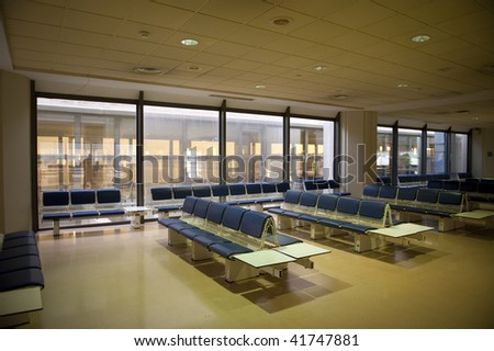Empty waiting room in airport. - stock photo