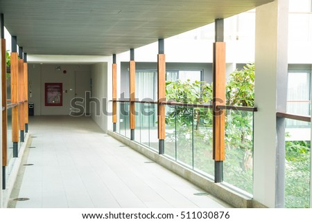 empty walking path in condominium for background