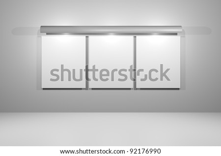 Empty wall advertising board isolated grey wall with a light cover all board